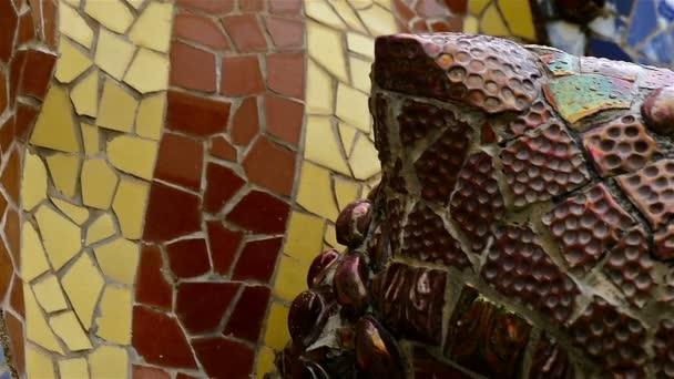 Details with Ceramic tiles in Antoni Gaudi\'s Park Guell, Barcelona ...