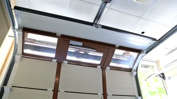 Sectional automatic garage door closing, view from inside