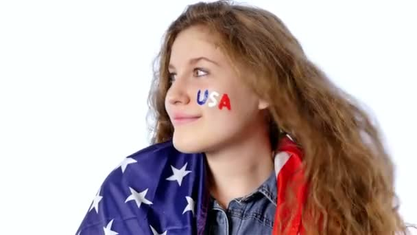 Girl with a flag of the United States of America