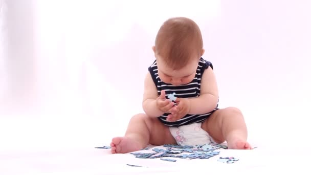 Boy playing with a puzzle