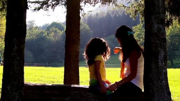 Mother and daughter hugging and kissing on tree log. Sunset in the background