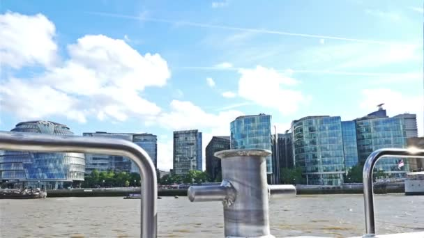 View to London city center from a boat on river Thames
