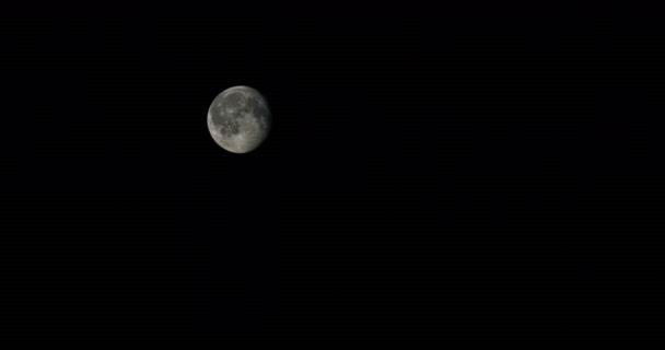 Úplněk v temné obloze v noci