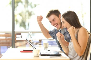 Euphoric students watching exam results
