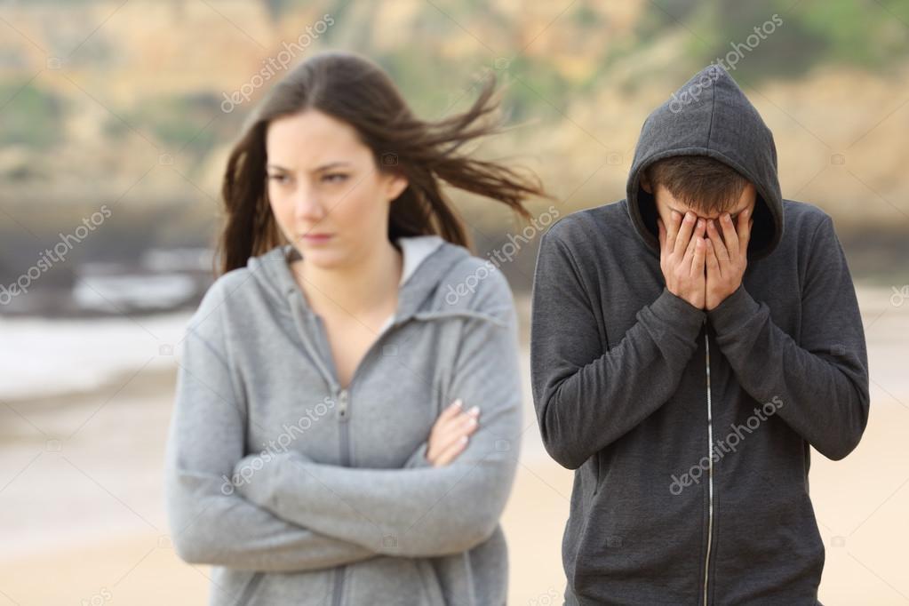 Teenager couple break up — Stock Photo © AntonioGuillemF #121778612