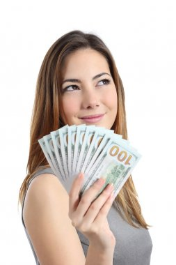 Lottery winner woman thinking what to do with money