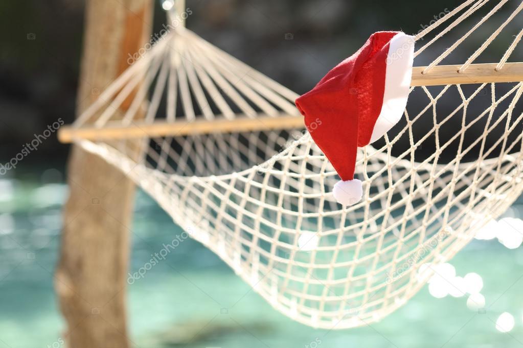 Hammock in a tropical beach on christmas holidays