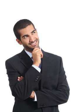Arab happy business man thinking while looking at side
