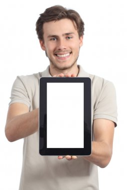 Young man holding and showing a blank tablet display app
