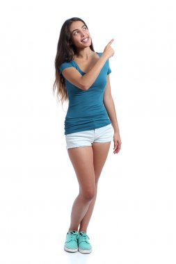 Teenager promoter girl presenting pointing at side