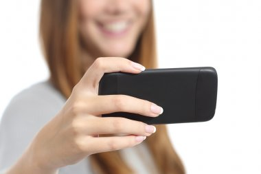 Girl watching media videos on a smart phone