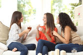 Fotografie Three friends talking at home