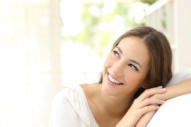 Beauty confident woman looking sideways