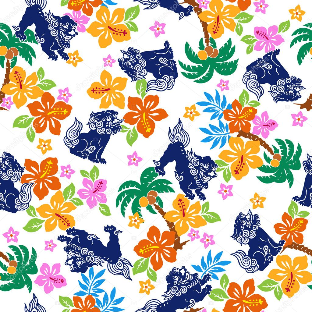 Tropical flower Orient lion pattern