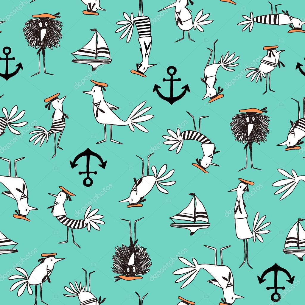 Comics style Bird pattern