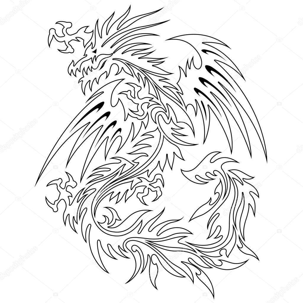 Drachen-Illustration-Kunst — Stockvektor © daicokuebisu #116225116