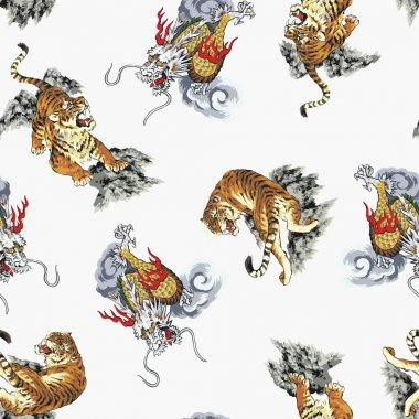Pattern tiger and dragon