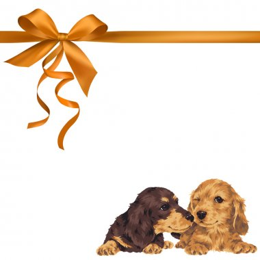 Illustration of dog and ribbon