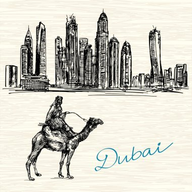 Dubai. Hand drawn illustration.