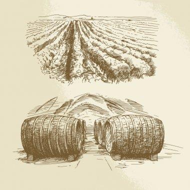 barrels, vineyard, harvest, farm - hand drawn collection