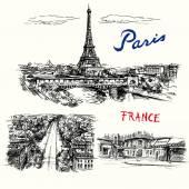 Francie, Paříž, Eiffelovka - ručně kreslenou vektorové kolekce