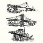 Fotografie slavné mosty - ručně tažené sada