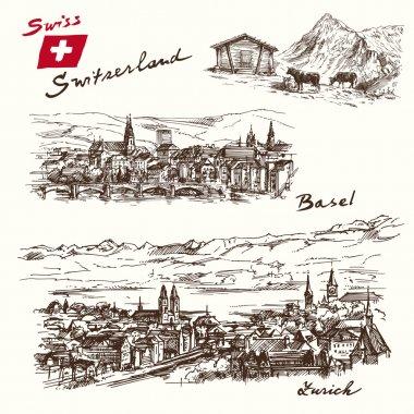 switzerland - han drawn set