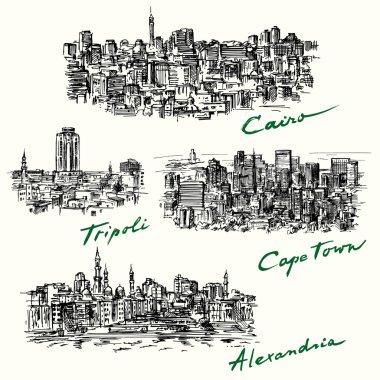 Cairo, Tripoli, Cape Town, Alexandria