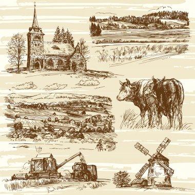 Farm, cows, harvest, rural landscape - hand drawn set