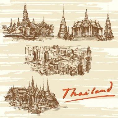 Thailand, Bangkok - hand drawn set