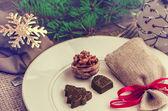 Fotografie Tischdekoration für Weihnachten und Neujahr