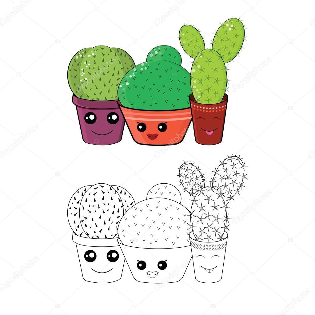 kleurplaat met cactussen stockfoto 169 natashapetrova