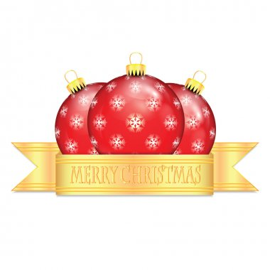 Red Christmas balls with snowflakes isolated on white background