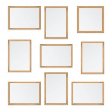 Set of  wooden frames isolated on white background