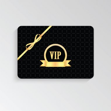 VIP cards with gold letters and ribbon
