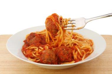 Spaghetti meatballs in a bowl