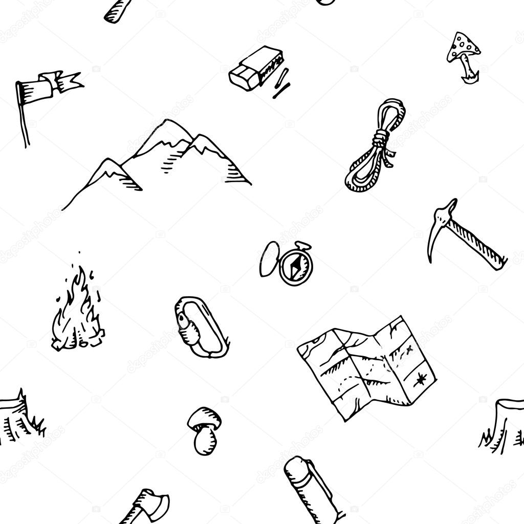 Seamless pattern hand drawn camping adventure set . Doodle elements.