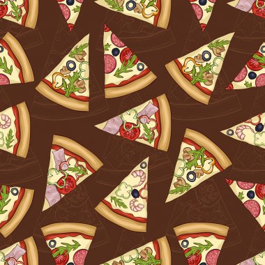 Seamless pattern scetch with four types of pizza