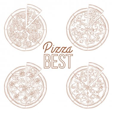 Scetch set of four types pizza
