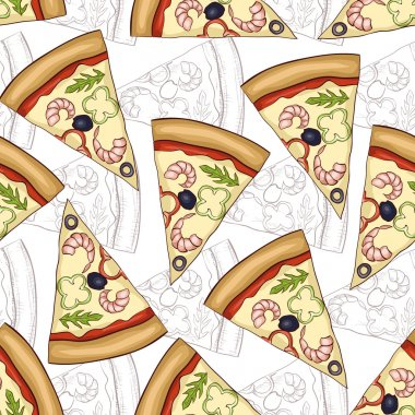 Seamless pattern pizza shrimp scetch and color