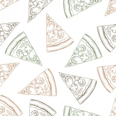 Seamless pattern pizza with shrimp scetch