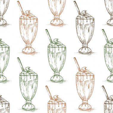 Seamless pattern chocolate milkshake scetch