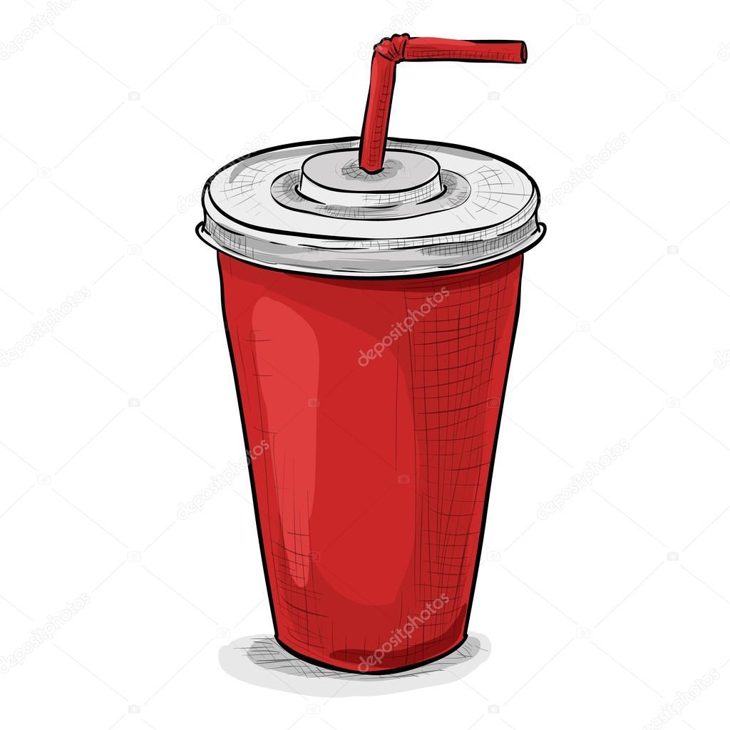 Cola Kupası Renkli Resmi Stok Vektör Netkoff 113828258
