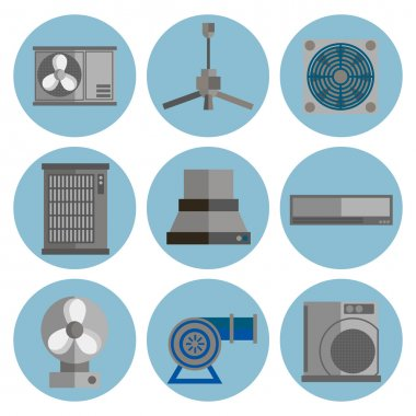 Conditioning system flat icons set. Conditioners icons isolated on white background. clip art vector