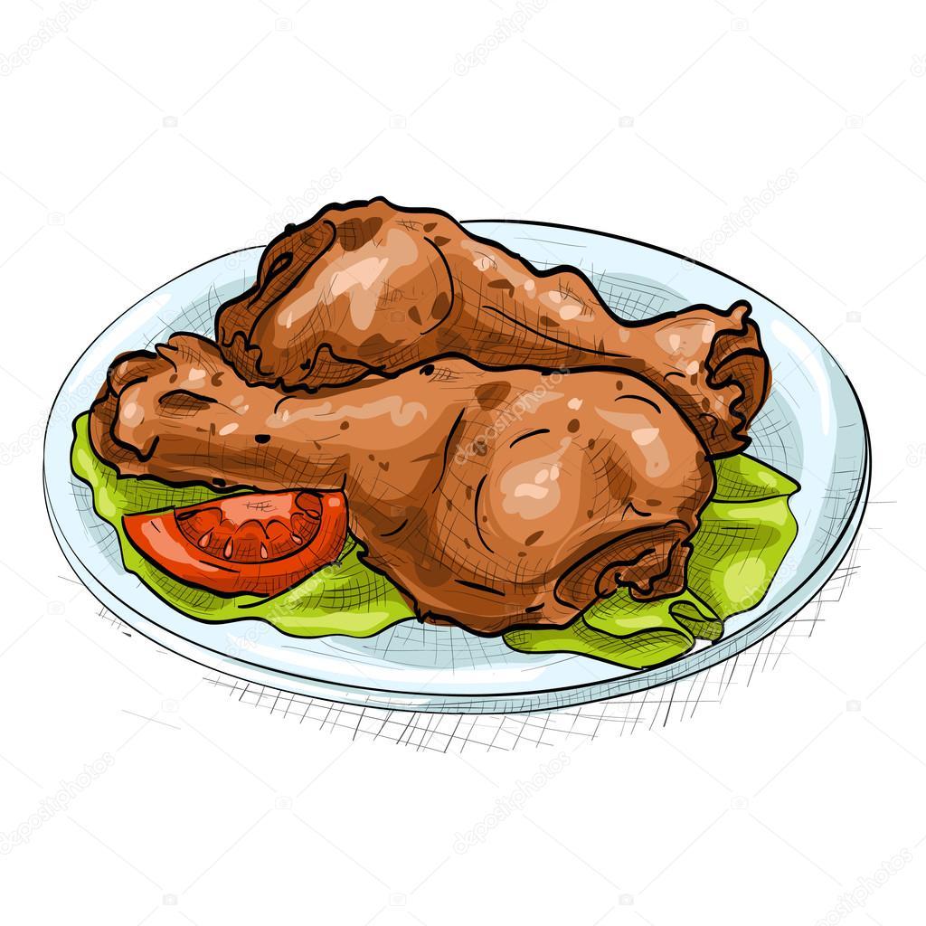 muslos de pollo color etiqueta engomada de la foto — Archivo ...