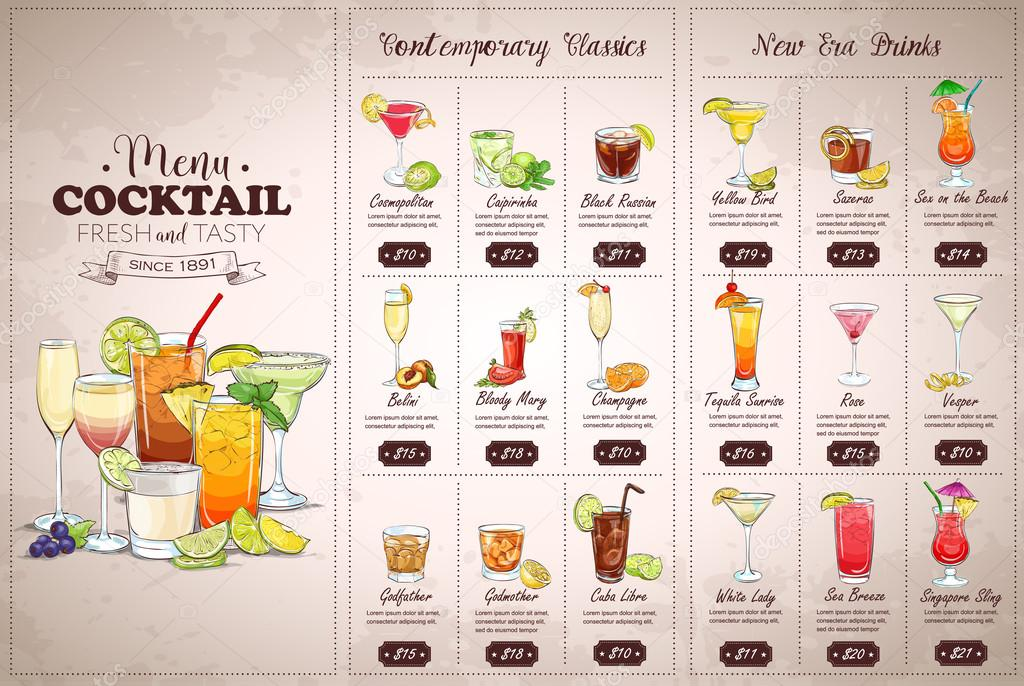 Carte des cocktails avant dessin horizontal image vectorielle netkoff 116850346 - Dessin cocktail ...