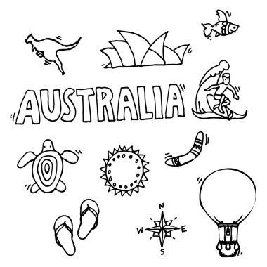 Australia tourism nature and culture icons set