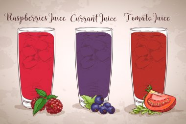 Glasses of juices on a retro background