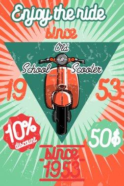 Color vintage scooter poster