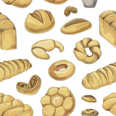 Bakery and pastry products icons set pattern